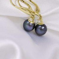 tahitské perly  s briliantami ako vysiace náušničky